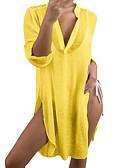 Χαμηλού Κόστους Γυναικεία Φορέματα-Γυναικεία Τουνίκ Φόρεμα - Μονόχρωμο, Σκίσιμο Μίντι Βαθύ V