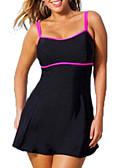 ราคาถูก ชุดว่ายน้ำ Tankini-สำหรับผู้หญิง สีดำ tankini ชุดว่ายน้ำ - สีพื้น ลายบล็อคสี XXXL XXXXL XXXXXL สีดำ