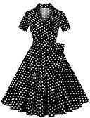זול שמלות מודפסות-מעל הברך מנוקד - שמלה נדן בגדי ריקוד נשים