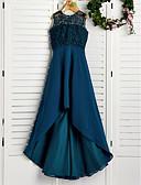 Χαμηλού Κόστους Λουλουδάτα φορέματα για κορίτσια-Γραμμή Α Με Κόσμημα Ασύμμετρο Σιφόν / Δαντέλα Φόρεμα Νεαρών Παρανύμφων με Δαντέλα