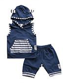 Χαμηλού Κόστους Βρεφικά Για Αγόρια σετ ρούχων-Μωρό Αγορίστικα Ενεργό / Βασικό Στάμπα Αμάνικο Κοντό Βαμβάκι Σετ Ρούχων Θαλασσί / Νήπιο