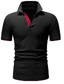 זול חולצות פולו לגברים-קולור בלוק צווארון חולצה בסיסי כותנה, Polo - בגדי ריקוד גברים שחור / שרוולים קצרים