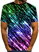Χαμηλού Κόστους Ανδρικά μπλουζάκια και φανελάκια-Ανδρικά Μέγεθος EU / US T-shirt Κλαμπ Κομψό στυλ street / Εξωγκωμένος Συνδυασμός Χρωμάτων / 3D / Γραφική Στρογγυλή Λαιμόκοψη Στάμπα Μαύρο / Κοντομάνικο
