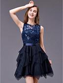 זול שמלות לילדות פרחים-גזרת A עם תכשיטים קצר \ מיני טול נוצץ וזוהר מסיבת קוקטייל שמלה עם נצנצים על ידי TS Couture®