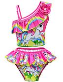 ราคาถูก ชุดว่ายน้ำผู้หญิง-เด็ก Toddler เด็กผู้หญิง ซึ่งทำงานอยู่ สไตล์น่ารัก Unicorn ลายพิมพ์ โบว์ แขนสั้น ชุดว่ายน้ำ สีแดงชมพู
