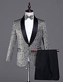 זול ז'קטים-אפור מעוטר גזרה מחוייטת פוליאסטר חליפה - צווארון צעיף (שאל) Single Breasted One-button