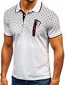 ราคาถูก เสื้อโปโลสำหรับผู้ชาย-สำหรับผู้ชาย Polo พื้นฐาน / Street Chic ลายพิมพ์ คอเสื้อเชิ้ต เพรียวบาง ลายบล็อคสี ขาว / แขนสั้น