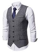 ราคาถูก เบลเซอร์ &สูทผู้ชาย-สำหรับผู้ชาย เสื้อกั๊ก, สีพื้น คอวี เส้นใยสังเคราะห์ สีดำ / สีเทา / สีกากี