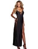 ราคาถูก สไตลตุ๊กตาเบบี้-สำหรับผู้หญิง แยกสูง / Cross Back ขนาดพิเศษ ซูเปอร์เซ็กซี่ ชุดคลุมนอน เสื้อนอน สีพื้น สีดำ S M L / คอตัวยูลึก