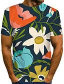 billige Herreskjorter-Rund hals EU / USA størrelse T-skjorte Herre - Blomstret / Fargeblokk / 3D, Trykt mønster Gatemote / overdrevet Klubb Regnbue / Kortermet