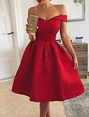 Χαμηλού Κόστους Μίνι Φορέματα-Γυναικεία Βασικό Γραμμή Α Φόρεμα - Μονόχρωμο Ως το Γόνατο