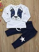 זול אוברולים טריים לתינוקות לבנים-סט של בגדים שרוול ארוך גיאומטרי / דפוס בנים תִינוֹק