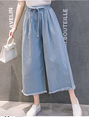 povoljno Ženske hlače-Žene Osnovni Wide Leg Hlače - Jednobojni Visoki struk Navy Plava Svjetloplav L XL XXL