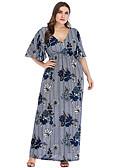 זול שמלות מקסי-מקסי קפלים דפוס, פרחוני - שמלה גזרת A בסיסי בגדי ריקוד נשים