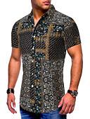 billige Herreskjorter-Bomull EU / USA størrelse Skjorte Herre - Fargeblokk / Tribal, Trykt mønster Grunnleggende Svart / Kortermet
