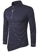 baratos Camisas Masculinas-Homens Camisa Social Básico / Elegante Sólido Algodão Colarinho Clerical Cinzento / Manga Longa