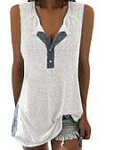 cheap Women's Clothing-Women's Daily Wear Basic Tank Top - Solid Colored Patchwork V Neck White