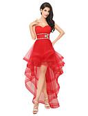 Χαμηλού Κόστους Φορέματα Χορού Αποφοίτησης-Γραμμή Α Καρδιά Ασύμμετρο Τούλι χαριτωμένο στυλ Χοροεσπερίδα Φόρεμα 2020 με Χάντρες / Πιασίματα