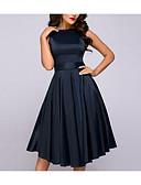 Χαμηλού Κόστους Επαγγελματικά Φορέματα-Γυναικεία Βασικό Κομψό Γραμμή Α Φόρεμα - Μονόχρωμο Ως το Γόνατο