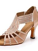 ราคาถูก ชุดเดรสลูกไม้สุดโรแมนติก-สำหรับผู้หญิง รองเท้าเต้นรำ ซาติน ลาติน หินประกาย / คริสตัล ส้น ส้นป้าน ตัดเฉพาะได้ สีดำ / Almond / Performance / หนังสัตว์ / ฝึก