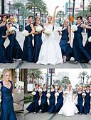 Χαμηλού Κόστους Φορέματα Παρανύμφων-Τρομπέτα / Γοργόνα Βυθίζοντας το λαιμό Μακρύ Σατέν Φόρεμα Παρανύμφων με Πλισέ