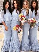 Χαμηλού Κόστους Φορέματα Παρανύμφων-Τρομπέτα / Γοργόνα Με Κόσμημα Ουρά Δαντέλα Φόρεμα Παρανύμφων με Διακοσμητικά Επιράμματα / Δαντέλα
