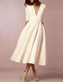 Χαμηλού Κόστους Νυφικά-Γραμμή Α Λαιμόκοψη V Κάτω από το γόνατο Σιφόν Μισό μανίκι Καθημερινά Φορέματα γάμου φτιαγμένα στο μέτρο με 2020