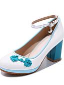 ราคาถูก ถุงเท้าและชุดชั้นใน-สำหรับผู้หญิง รองเท้าส้นสูง ส้นหนา ปลายกลม PU ฤดูร้อนฤดูใบไม้ผลิ ขาว / สีดำ / แดง