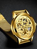 זול שעונים מכאניים-בגדי ריקוד גברים שעוני יוקרה שעוני שלד שעון מכני אוטומטי נמתח לבד סגנון פורמלי מסוגנן מתכת אל חלד שחור / זהב 30 m חריתה חלולה צג גדול אנלוגי פאר אופנתי - שחור זהב