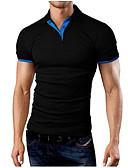 זול חולצות פולו לגברים-אחיד צווארון חולצה Polo - בגדי ריקוד גברים שחור / שרוולים קצרים