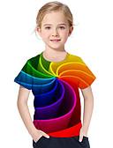 povoljno Majice za djevojčice-Djeca Dijete koje je tek prohodalo Djevojčice Aktivan Osnovni Geometrijski oblici Print Color block Print Kratkih rukava Majica s kratkim rukavima Duga