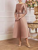 billiga Cocktailklänningar-A-linje Prydd med juveler Telång Satäng 3/4 ärm Vintage / Plusstorlek / Elegant Klänning till brudens mor med Kristalldetaljer 2020
