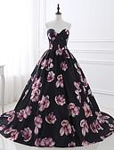baratos Protetores de Tela para iPhone-Linha A / De Baile Sem Alças Cauda Capela Cetim Floral / Estilo Chinês Evento Formal Vestido 2020 com Estampa