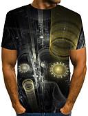 baratos Camisas Masculinas-Homens Tamanho Europeu / Americano Camiseta - Bandagem Moda de Rua / Exagerado Estampado, Estampa Colorida / 3D / Gráfico Decote Redondo Cinzento / Manga Curta
