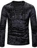 Χαμηλού Κόστους Ανδρικά μπλουζάκια και φανελάκια-Ανδρικά T-shirt Μονόχρωμο Λαιμόκοψη V Λευκό / Μακρυμάνικο
