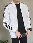 זול גברים-ג'קטים ומעילים-בגדי ריקוד גברים יומי רגיל ג'קט, אחיד עומד שרוול ארוך פוליאסטר לבן / שחור / אודם