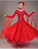 povoljno Svečana plesna odjeća-Klasični plesovi Haljine Žene Seksi blagdanski kostimi Spandex / Organza Aplikacije Dugih rukava Prirodno Haljina