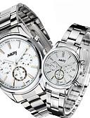 ราคาถูก นาฬิกาข้อมือสแตนเลส-สำหรับคู่รัก นาฬิกาข้อมือสแตนเลส นาฬิกาอิเล็กทรอนิกส์ (Quartz) สไตล์ สแตนเลส ดำ / สีขาว 30 m นาฬิกาใส่ลำลอง ระบบอนาล็อก ไม่เป็นทางการ แฟชั่น - เงิน / ดำ สีเงิน / สีขาว สองปี อายุการใช้งานแบตเตอรี่