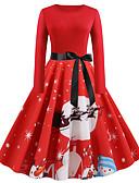 olcso Női ruhák-Női Vintage Elegáns A-vonalú Ruha - Kollázs Nyomtatott, Színes Absztrakt Midi Hópehely Mikulás
