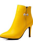 זול שמלות נשף-בגדי ריקוד נשים מגפיים עקב סטילטו בוהן מחודדת ריינסטון PU מגפונים\מגף קרסול עסקים / בריטי סתיו חורף שחור / לבן / צהוב / מסיבה וערב