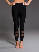 ราคาถูก กางเกงผู้หญิง-สำหรับผู้หญิง Sporty เพรียวบาง เลกกิ้ง กางเกง - สีพื้น / ลายแถบ Black, ลายต่อ เอวสูง สีดำ สีเทา M L XL