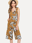 ราคาถูก จั๊มสูทและเสื้อคลุมสำหรับผู้หญิง-สำหรับผู้หญิง พื้นฐาน คอวีลึก สีเหลือง ขากว้าง ชุด Jumpsuits Onesie, รูปเรขาคณิต ลายพิมพ์ S M L
