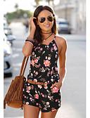 ราคาถูก กางเกงผู้หญิง-สำหรับผู้หญิง โบโฮ กางเกง Chinos / กางเกงขาสั้น กางเกง - ดอกไม้ ลายพิมพ์ สีดำ L XL XXL