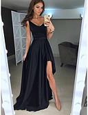 Χαμηλού Κόστους Φορέματα Χορού Αποφοίτησης-Γραμμή Α Βυθίζοντας το λαιμό Ασύμμετρο Σατέν Κομψό Επίσημο Βραδινό Φόρεμα 2020 με Με Άνοιγμα Μπροστά