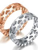 billige Øyenskygger-Herre Dame Parringer Band Ring Ring 1pc Sølv Rose Gull Titanium Stål Sirkelformet Grunnleggende Mote Gave Daglig Smykker Hjerte Kul / Tail Ring
