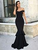 Χαμηλού Κόστους Βραδινά Φορέματα-Τρομπέτα / Γοργόνα Ώμοι Έξω Μακρύ Σατέν Κομψό Επίσημο Βραδινό Φόρεμα 2020 με