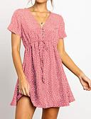 זול שמלות מיני-מעל הברך טלאים שרוך, אחיד מנוקד - שמלה גזרת A סגנון רחוב אלגנטית בגדי ריקוד נשים