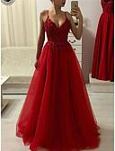 זול שמלות נשף-גזרת A רצועות ספגטי עד הריצפה טול ערב רישמי שמלה עם חרוזים / אפליקציות על ידי JUDY&JULIA