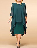 cheap Women's Blouses-Women's Elegant Loose Shift Dress - Solid Colored Floral Lace Print Lace Green S M L XL