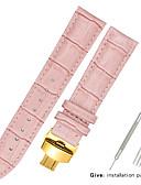 billige Smartwatch Bands-ekte lær / Lær / Kalvehår Klokkerem Strap til Svart / Hvit / Blå Annen / 17cm / 6.69 tommer / 19cm / 7.48 Tommer 1.2cm / 0.47 Tommer / 1.3cm / 0.5 Tommer / 1.4cm / 0.55 Tommer